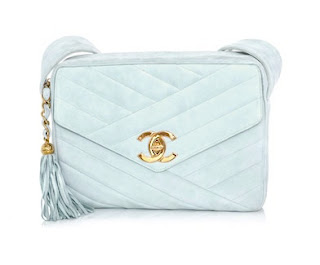Vintage ice blue suede leather Chanel bag with tassel and gold hardware