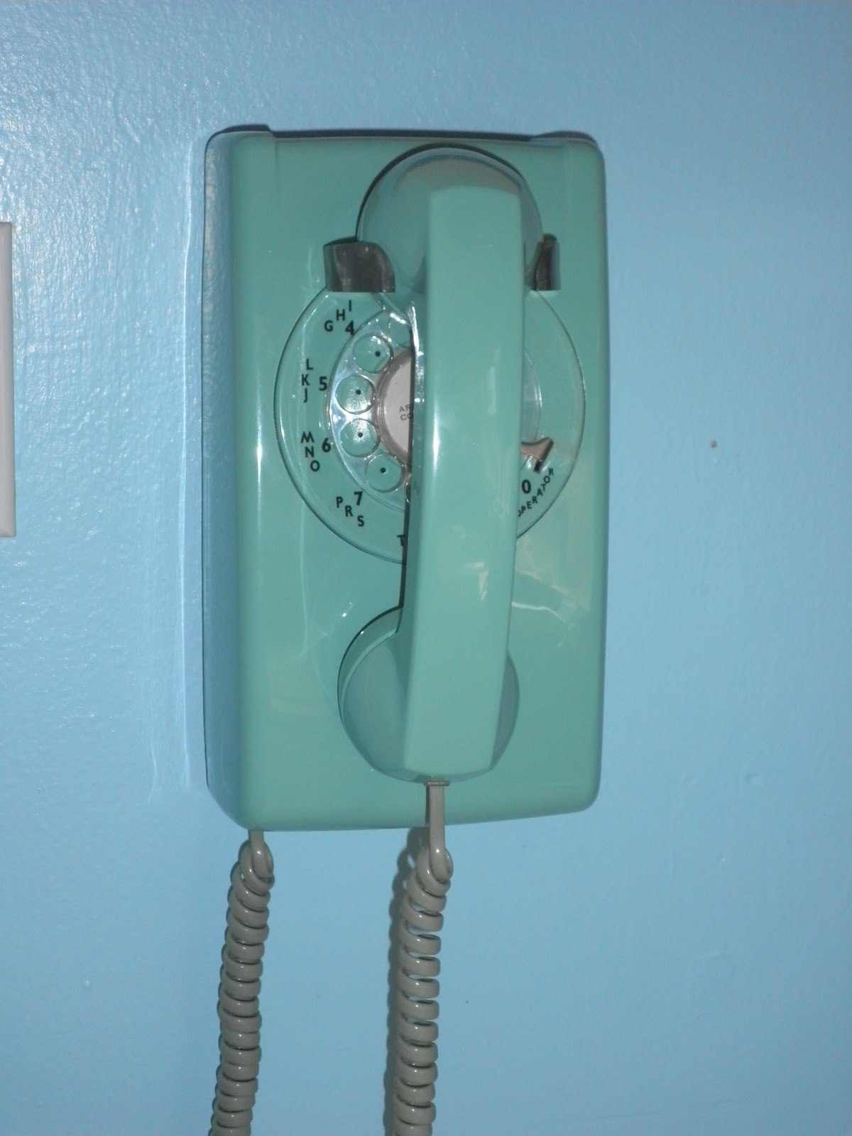 Vintage 50s 60s Retro Rotary Wall Phone Mint Seafoam Just Peachy Darling