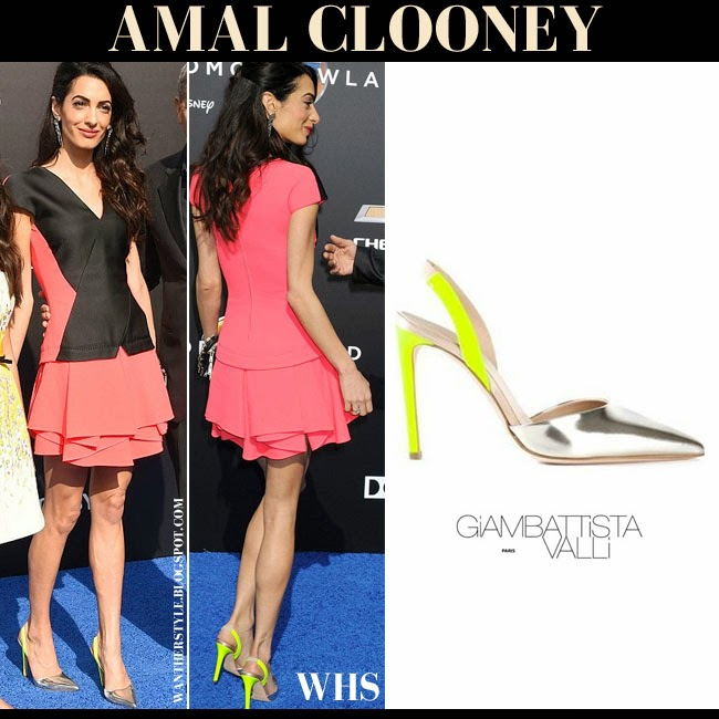 Amal Clooney in silver and neon yellow slingback pumps Giambatista Valli what she wore may 9 red carpet fashion