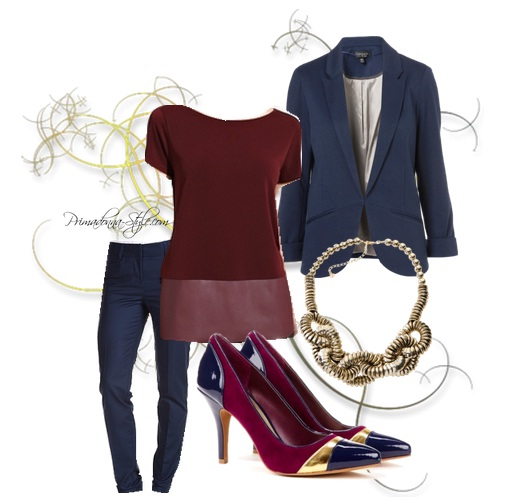Navy and Burgundy Outfit