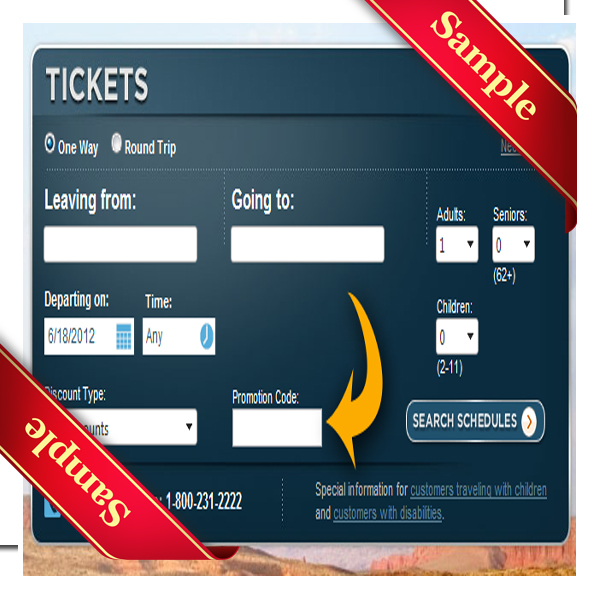 4. Seniors age 61 and older receive a 5% discount on Greyhound ticket totals. 5. Using a Greyhound promo code online is easy. When you start booking your trip, the promo code entry box is below your starting and ending destination boxes. Note that only one code can be used per purchase and not in combination with Road rewards.