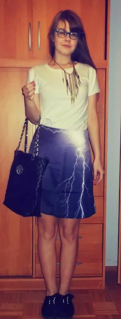 OOTD: spódnica w błyskawice + beanie! :)