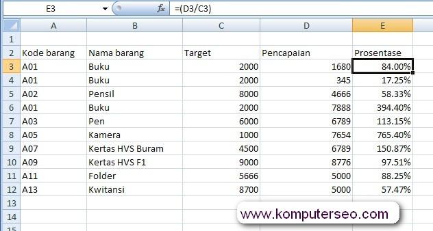 format prosentase