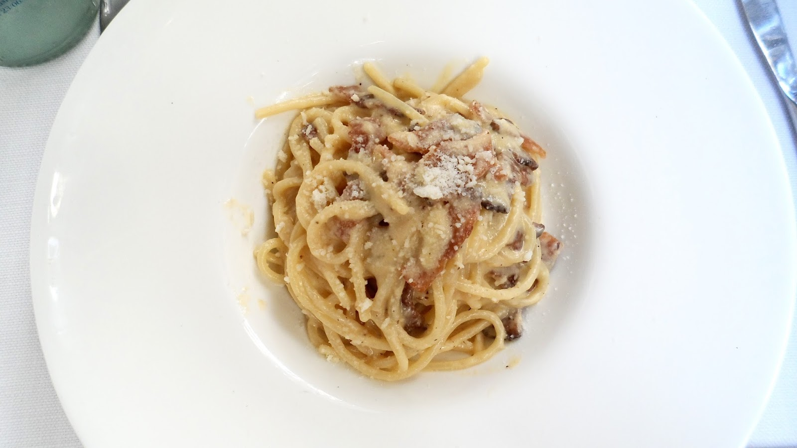 Carbonara pasta from Ristorante Life in Rome