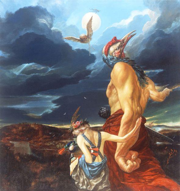 Viktor Safonkin pinturas surreais sombrias medievais mitológicas religião subconsciente Os pássaros notáveis