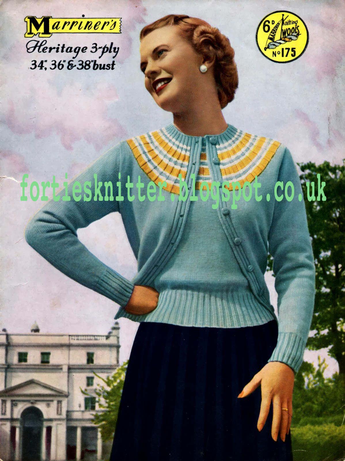 1950's Knitting - Mariner's No.175 Twinset free knitting pattern