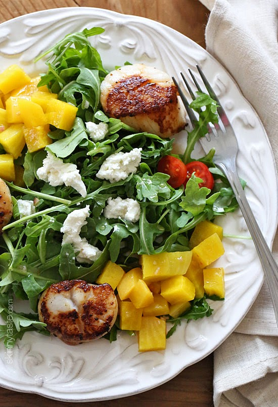 Sweet yellow beets, arugula, goat cheese and sauteed scallops tossed ...
