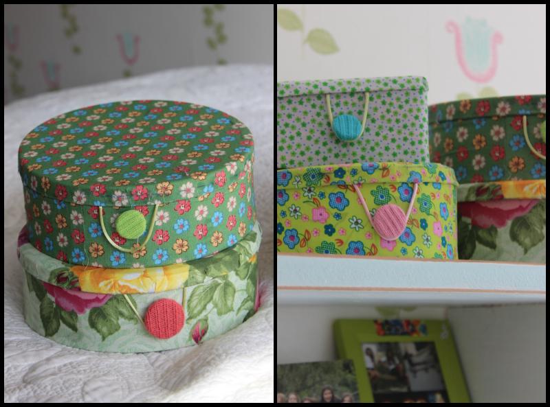 Latas forradas con tela imagui for Forrar cajas de carton con tela