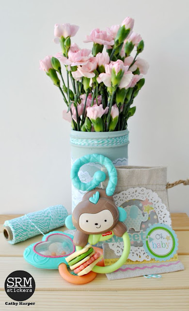 SRM Stickers Blog - A Baby Gift by Cathy - #baby #gift #doilies #stickers #punchedpieces #twine #lace #linenbag