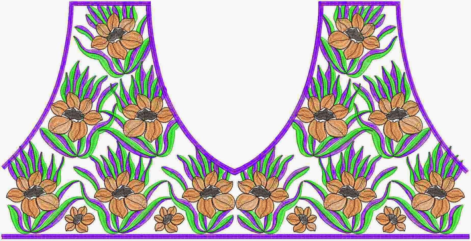 Chikan borduurwerk nek ontwerp
