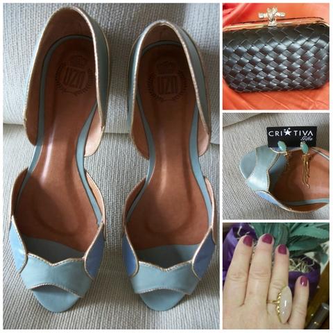 Sapato, clutch, brinco e anel