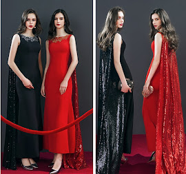 2018 Red Carpet Black/Red/White Sequin Maxi