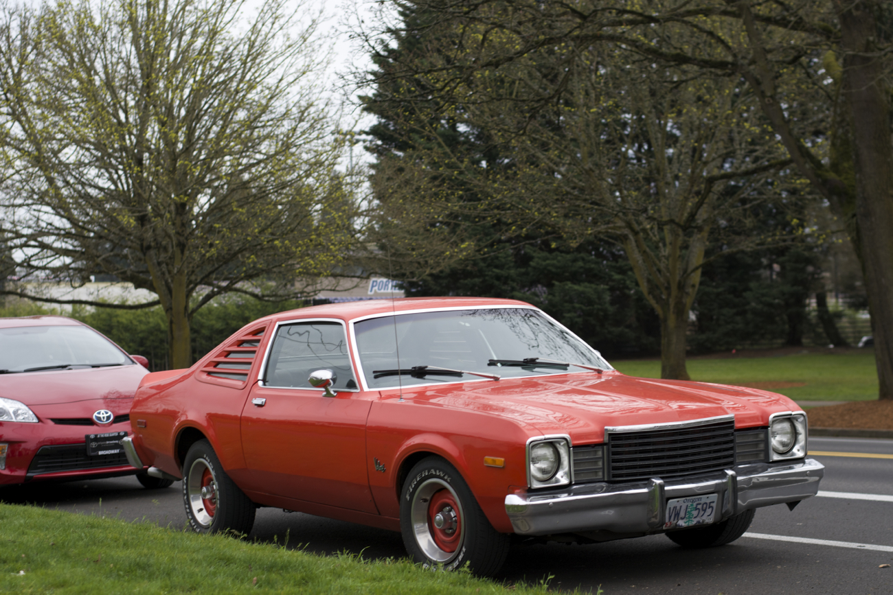 OLD PARKED CARS.: 1976 Plymouth Volare Road Runner Edition.