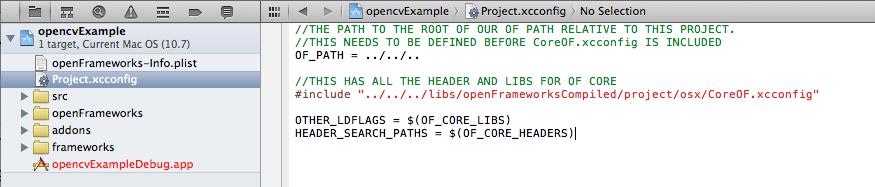 The ofxOpenCv xcconfig file