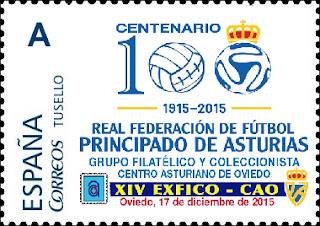 Sello personalizado del centenario de la federación asturiana de fútbol