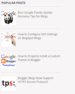 Example of Popular Posts Widget in Blog