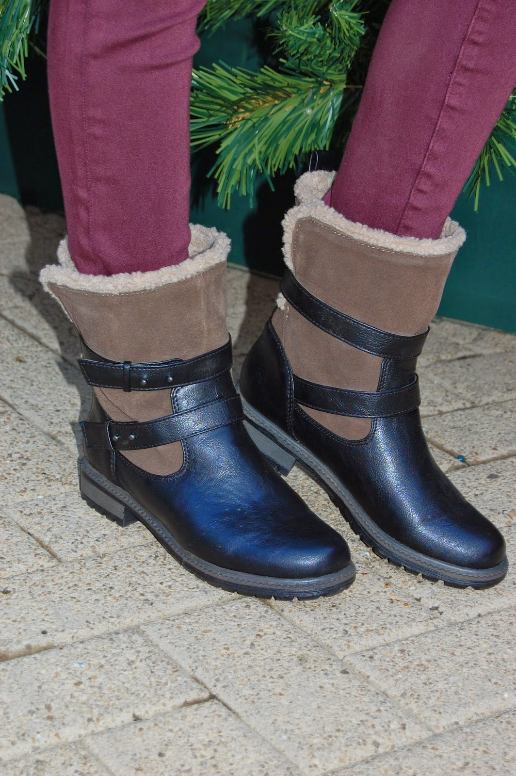 Wearing American Eagle Sherpa Lined Moto Booties