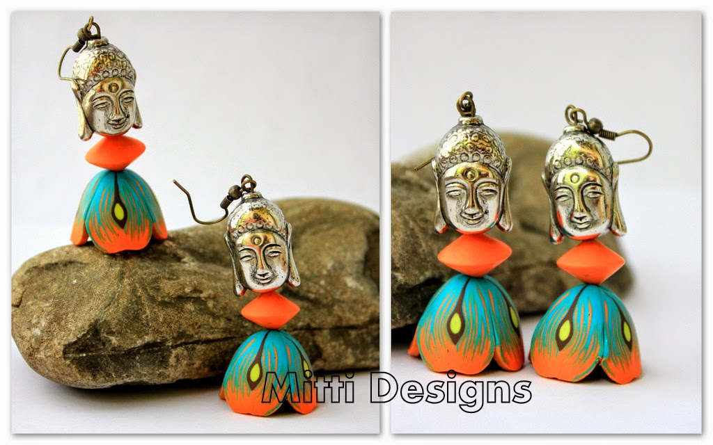 Flower Earrings, Sunflower, spring, summer, zumka, jhumka, earrings, polymer clay, handmade, mitti designs, rachana saurabh, buddha