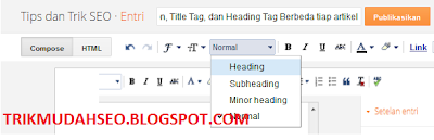 menambahkan heading tag