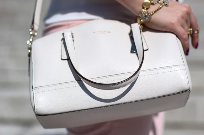 Coach White Mini Saffiano Leather Satchel