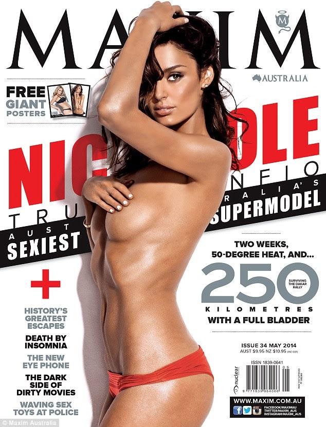 Picture Australian Supermodel Nicole Trunfio Goes Topless for Maxim Magazine Cover