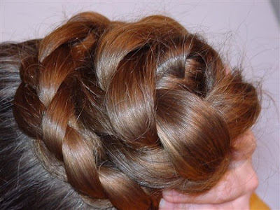 very long hair braided bun