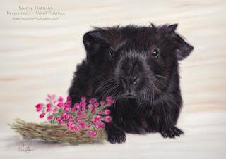 Meerschweinchen - Goldagouti. Tierportrait von Simone Hofmann nach Foto malen lassen.