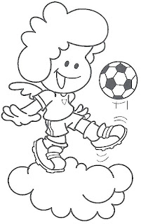 Angel playing soccer coloring pages
