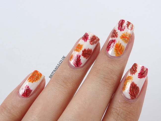 Autumn Feathers Nail Art