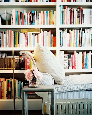 Beautiful reading nook and bookshelf for relaxation