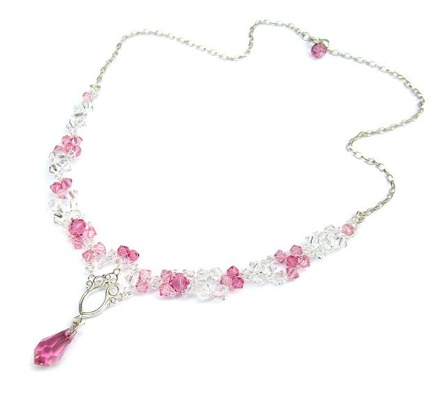Różowy naszyjnik ślubny z kryształami Swarovski