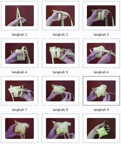 Berikut ini saya tampilkan cara menganyam ketupat (dalam Bentuk gambar ...