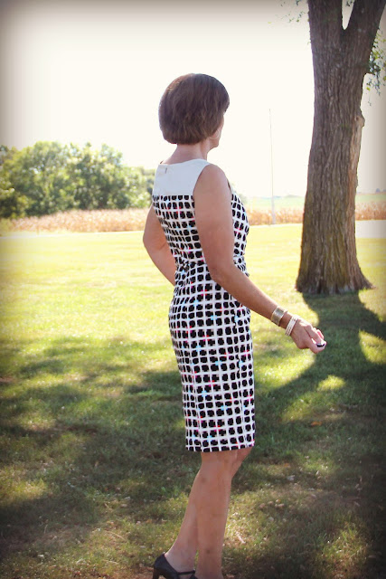 Mood Fabrics' geometric stretch cotton made into a dress using Vogue 1329
