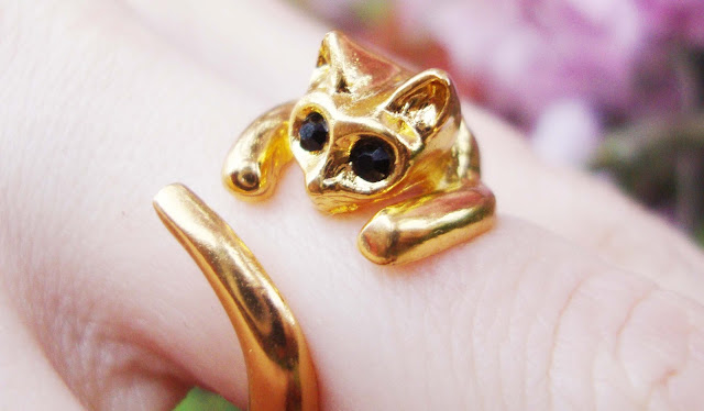 cat, ring, gold, cute
