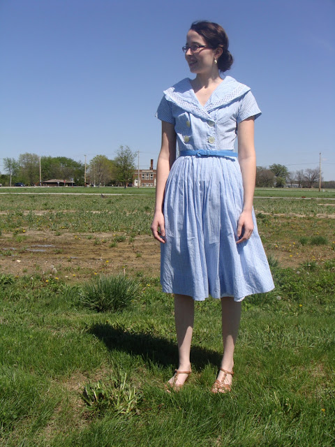 Vintage 1950s Baby Blue Gingham Dress The Way We Wore a vintage