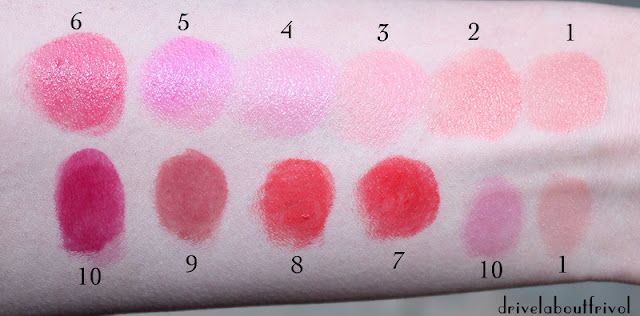By Terry Hyaluronic Sheer Rouge lipstick swatches 1 Nudissimo 2 Mango Tango 3 Baby Bloom 4 Princess in Rose 5 Dragon Pink 6 Party Girl 7 Bang Bang 8 Hot Spot 9 Dare to Bare 10 Berry Boom