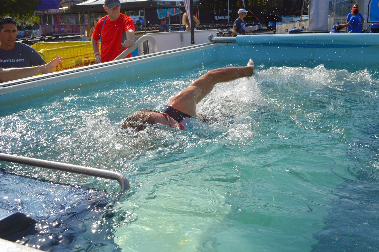 A test-swimmer in the Endless Pool at the REV3 triathlon in Anderson, SC, on October 11, 2014.