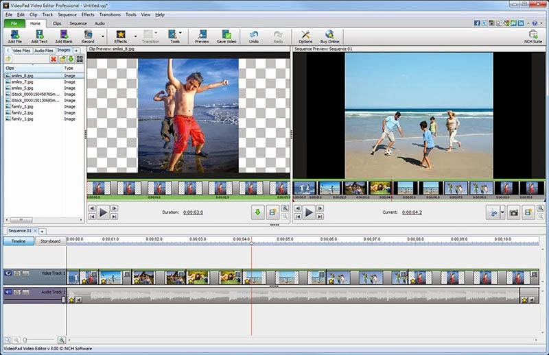 صورة من داخل البرنامج VideoPad Video Editor