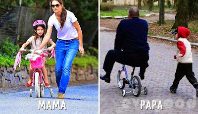Perbedaan Lucu Mama dan Papa dalam Mengasuh Anak