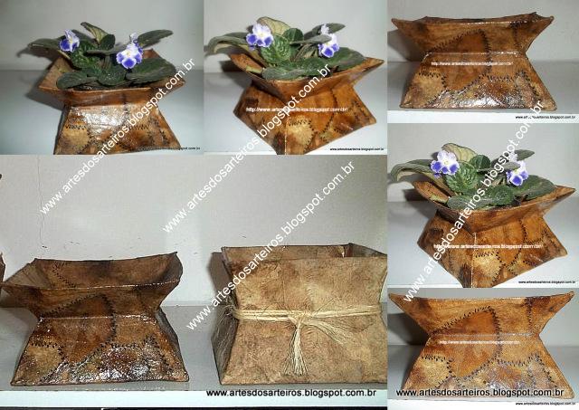 Vasos artesanais com material reciclado, feito com caixas de leite e