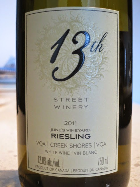 Wine Review of 2011 13th Street June's Vineyard Riesling from VQA Creek Shores, Niagara Peninsula, Ontario, Canada