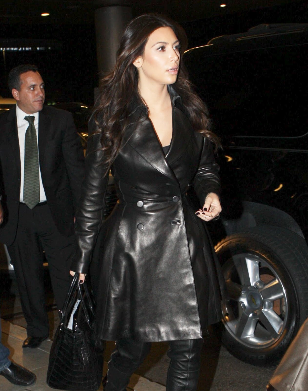 image Leather in kim kardashian style