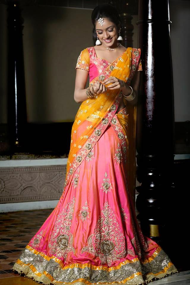 Half Designer Saree and Lahenga For Bride