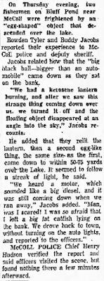 Fishermen Watch Black Ball Descend onto Lake in 1957 South Carolina - Florence Morning News