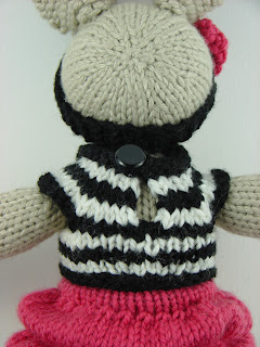 knit bunny in hot pink bubble skirt black and white striped shirt crochet flower headband