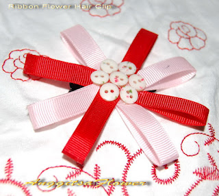 jepit bunga pita (Ribbon Flower Hair Clip)