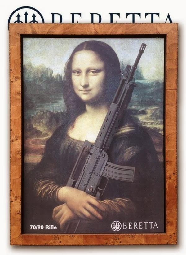 Mona Lisa: la pubblicità di Beretta con il fucile