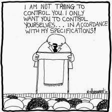 "Image:  A cartoon stick figure preacher hides behind a pulpit while laying down the law in My NTCC:  An ntcc huckster declares ""I am not trying to control you.  I only want you to control yourselves... in accordance with my RULES; oops, I mean, policies.  Heh, heh, heh!"""