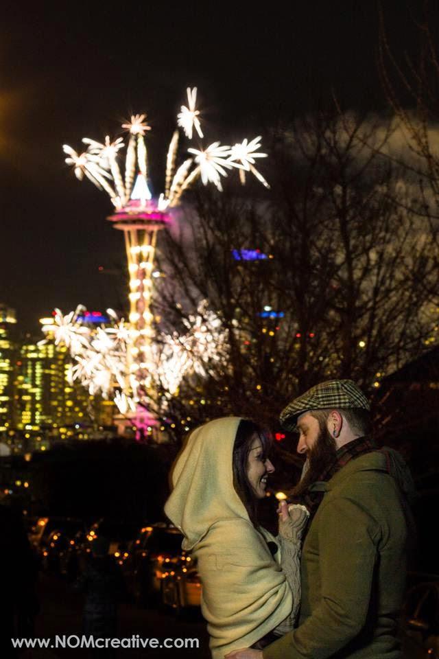 Brandon, Jen, Space Needle fireworks, wedding - Patricia Stimac, A Heavenly Ceremony