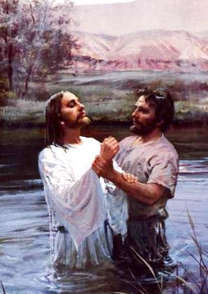 Imagen de Jesus siendo bautizado por Juan el Bautista
